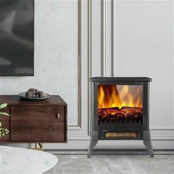 """14"""" 1400W Electric Fireplace Stove Heater Fire Place Flame E"""