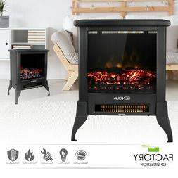 "14"" Electric Fireplace Heater Freestanding Log Wood Fire LED"