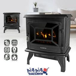 """1400W 17"""" Freestanding Electric Fireplace Heater Stove LED F"""