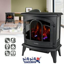 """1400W 20"""" Freestanding Electric Fireplace Heater Stove LED A"""