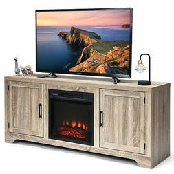1400W Electric Fireplace TV Stand Storage Cabinet Console &H