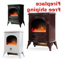 """16"""" Electric Fireplace Heater Freestanding Log Wood Fire LED"""