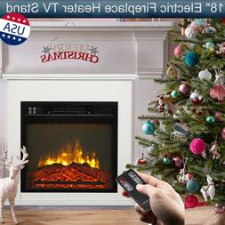 """18"""" Electric Fireplace Heater TV Stand Cabinet Realistic Fla"""