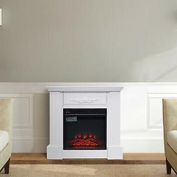 30 Inch Indoor Wood Electric Heating Fireplace and Mantel Fr