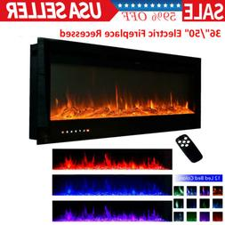 36''/50'' Electric Fireplace Wall Mounted LED Touch Screen R