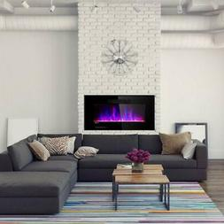 Costway 36 in. Recessed Electric Fireplace In-wall Wall Moun