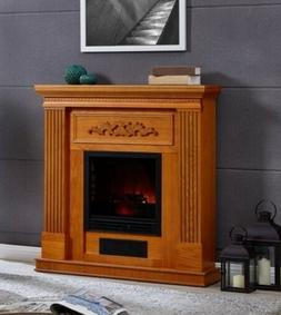 "38"" Electric Heating Fireplace Mantle Fireplaces Oak Finish"