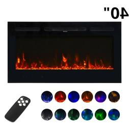 """40"""" Electric Fireplace Wall Mounted Recessed insert Standing"""