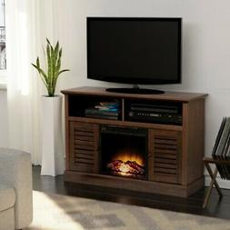 47 inch Barn Door Wood TV Stand With electric Fireplace For