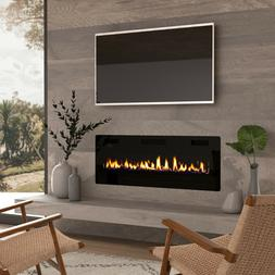 "50"" Electric Fireplace Insert, Wall Mounted/In Wall 3.86"" Ul"