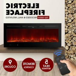 """50""""Electric Fireplace Recessed Wall Mounted Heater Multicolo"""
