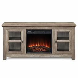 """50"""" Wood TV Console With Electric Fireplace for TV's up to 5"""