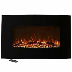"""Northwest 80-WSG032 36"""" Curved Color Changing Fireplace Wall"""
