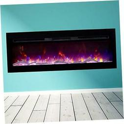 BizHomart Doris Electric Fireplace Recessed and Wall Mounted