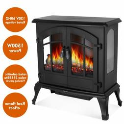 black 1500w free standing electric stove fireplace