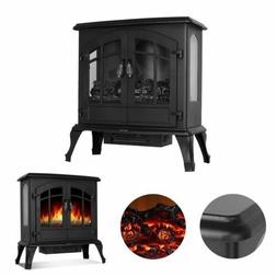 Black 750/1500W Free Standing Electric Stove Fireplace Fire
