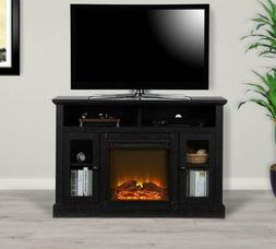 Black Wooden TV Stand Entertainment Center Electric Fireplac