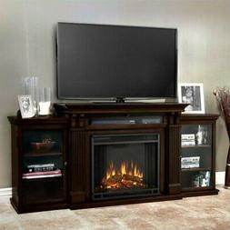 Real Flame Calie TV Stand with Electric Fireplace in Dark Wa
