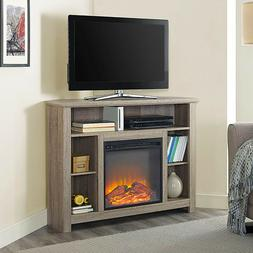 Corner Fireplace TV Stand RUSTIC Storage Cabinet Electric Sp
