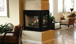 Superior DRT35PF Direct Vent Peninsula View Gas Fireplace wi