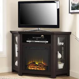 Electric Corner Fireplace TV Stand Espresso Media Wood Conso