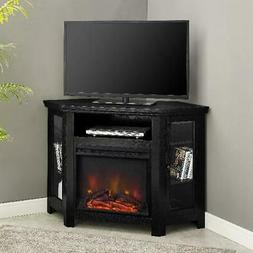 Electric Corner Fireplace TV Stand Wood Media Table Entertai