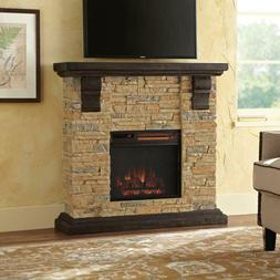 Electric Fireplace Heater Stove Faux Stone Mantel