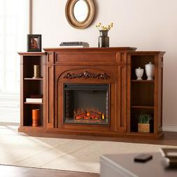 Electric Fireplace Heater Wood Bookcase Flame Log Firebox 70