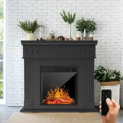 Electric Fireplace Heater Wood Mantel Cabinet LED Logs w/ Re