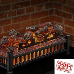 Electric Fireplace Insert Logs Crackling Sound Faux Glowing