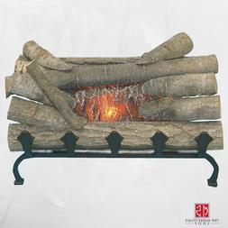 Electric Fireplace Logs With Grate Crackling Glowing Wood Bu