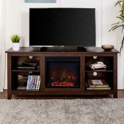 Electric Fireplace TV Stand 58 in. Adjustable Shelves Tradit
