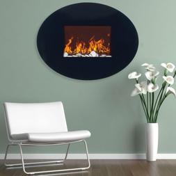 electric fireplace wall mount oval glass adjustable