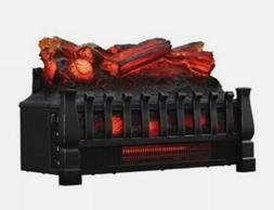 electric log heater infrared set fire fireplace