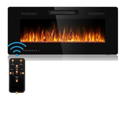 Embedded Electric Fireplace Insert Remote Control Heater Adj
