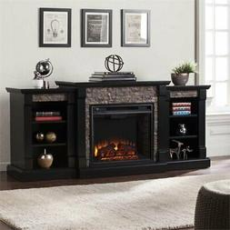 Bowery Hill Faux Stone Electric Fireplace in Black