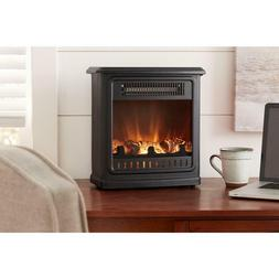 Small Electric Fireplace Desk Table Counter Top Compact Spac