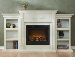 Electric Fireplace TV Stand Large Mantel Vintage Console Boo