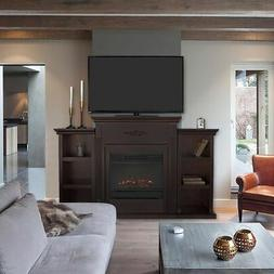 Fireplace TV Stand Wood Storage Media Console Electric Heate