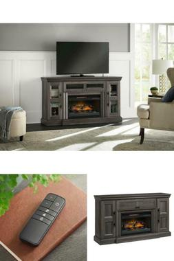 Fireplace TV Stands Gray Aged Oak Finish Media Console Infra