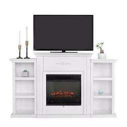 Freestanding Mantel Bookcases TV Stand with Electric Firepla