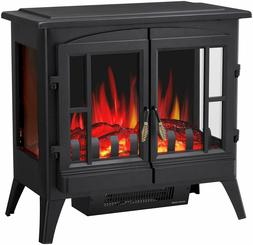 """Infrared Electric Fireplace Stove, 23"""" Freestanding 2 Doors"""