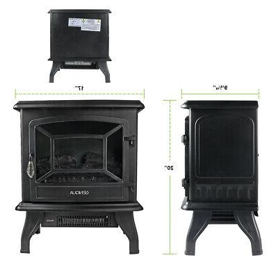 """17"""" Electric Fireplace Heater Freestanding Flame"""