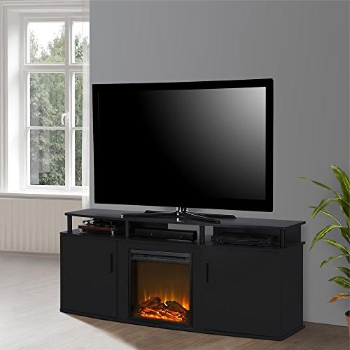 Ameriwood Home 1766396COM Electric Fireplace TV Console, Black