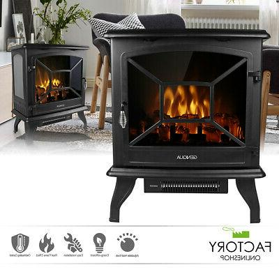 20 electric fireplace heater freestanding log wood