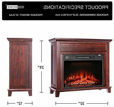 VIVOHOME Fireplace Freestanding Wood Frame
