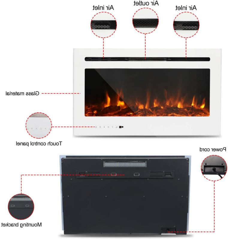 Maxhonor 36Inch Full Panel Recessed Fireplace Insert Mount