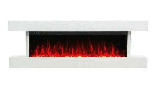 55 WHITE MANTEL ELECTRIC FIRE 3 SIDED GLASS NEW