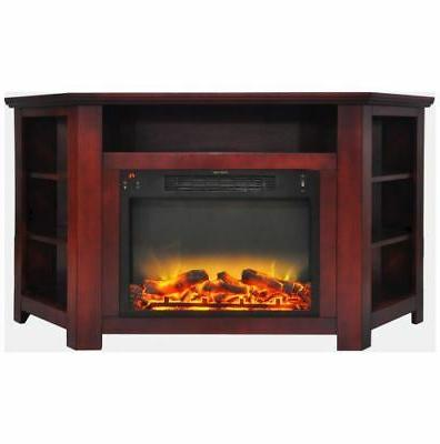 56 in electric corner fireplace in cherry