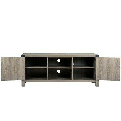 """58"""" Rustic Stand Fireplace TV Stand Grey Wash"""